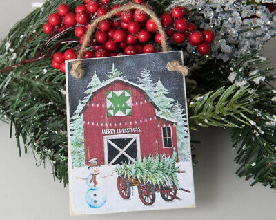 Vintage Christmas Barn farm Tree Ornament Farmhouse Buffalo Plaid Rustic Decor ()