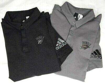 x2 Adidas OKC Thunder Athletic Cut Polos Grey L Charcoal L Tonal Embroidered NBA
