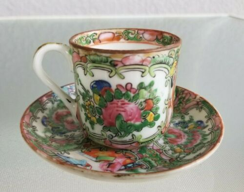 Chinese Famille Rose Medallion Tea Cup and Saucer Set Red China Stamp