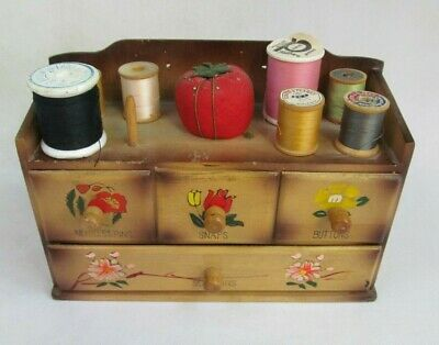 Vintage Wooden Box Organizer- 4 Drawers for Sewing Notions attached Pin Cushion Peg Drawer Organizer