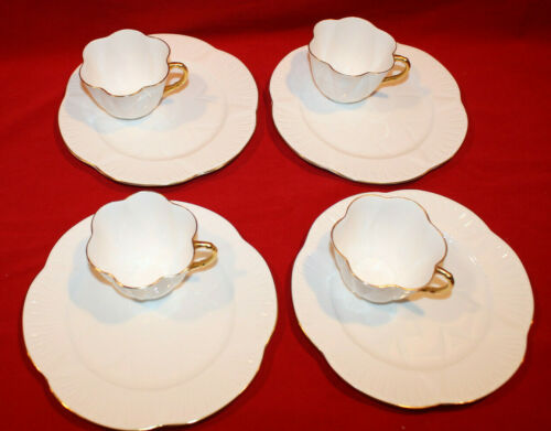 SHELLEY DAINTY REGENCY TENNIS / SANDWICH PLATE & CUP  SET OF 4  WHITE GOLD TRIM
