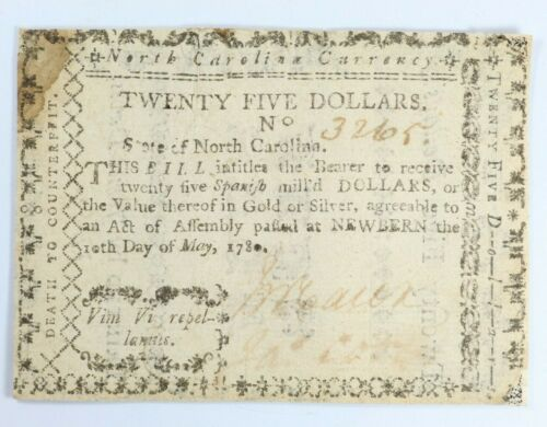 1780 $25 North Carolina May 10th Twenty Five Dollars Colonial Note - Fr. NC-191f