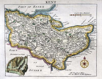 KENT DOVER  BY JOHN ROCQUE GENUINE ANTIQUE COPPER ENGRAVED MAP  c1769