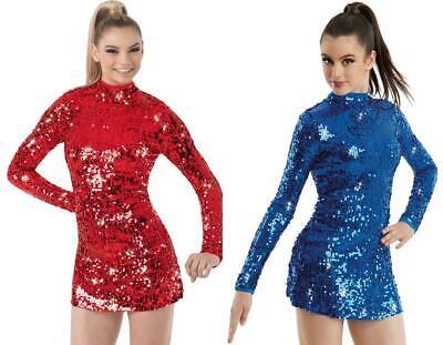 Dance Costume Medium Child or Adult Red Sequin Balera Jazz Tap Solo Weissman