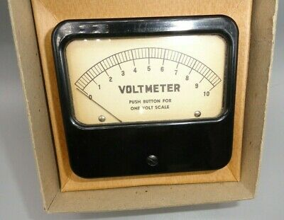 Analog Triplett Panel Voltmeter 0 - 1 -10 Volt Tan Face
