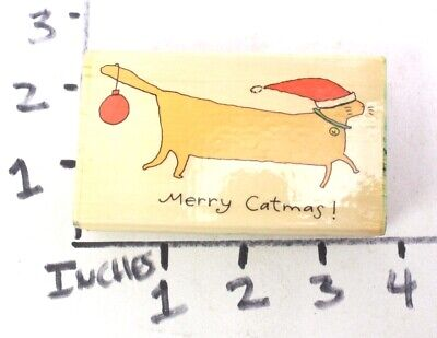 Wooden RUBBER STAMP Block Christmas Merry Catmas Cats by David Walker Christmas Wooden Stamp