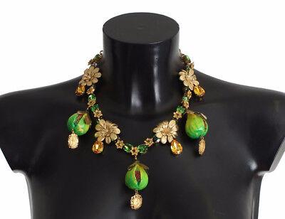 NEW DOLCE & GABBANA Necklace FIG Fruit Sicily Leaf Crystal Charm Statement