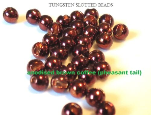 """Slotted COFFEE Tungsten Fly Tying Beads 2.5-4.0mm 3/32"""" 7/64"""" 1/8"""" 5/32"""""""