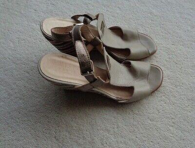 Hispanitas Ladies Beige Leather Wedge Heel Sandals Size 38 UK5