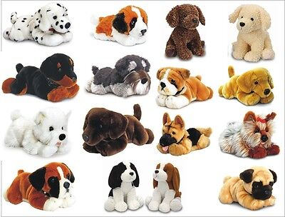 KEEL PLUSH DOG SOFT TOYS PUG LABRADOR WESTIE BULLDOG DALMATIAN & MORE  - NEW