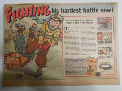 Cream of Wheat Ad: Fighting His Hardest Battle ! from 1937 Size: 11 x 15 inches