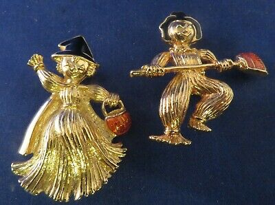 Pair of Gold Tone w/ Enamel Fall Halloween Witch and Scarecrow Pins Brooches - Halloween Pins And Brooches