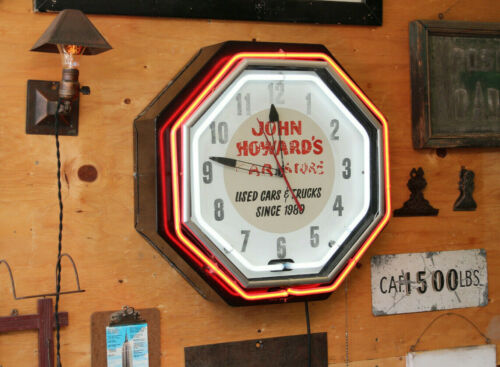 "22"" Vintage Antique Double Neon Car Trade Dealership Clock Advertising Sign 1930"