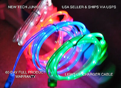 NTJ FLASH BRAIDED LED light-up USB power charger cable for iPhone X 8 7 6 plus 5