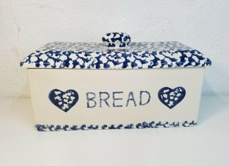 Ceramic Blue/White Vintage Farmhouse Bread Box