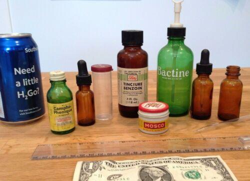 Vintage 50s,60s Medicine Bottles-  Lilly, Mosco, Green, Brown, Milk Glass