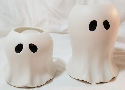 Yankee Candle GHOST Tea Light Holders Large & Small Set White Halloween - Halloween Tea Light Holders