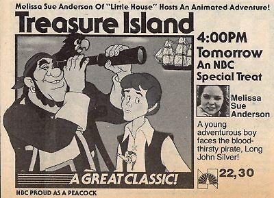 1981 TV CARTOON AD~TREASURE ISLAND~MELISSA SUE ANDERSON~LONG JOHN SILVER PIRATE