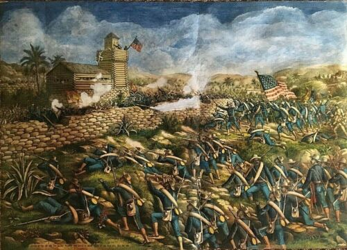 ORIGINAL - US ARMY - CHARGE of the COLORED INFANTRY at SAN JUAN HILL PRINT c1899