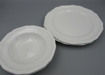 Mikasa Ultima China ANTIQUE WHITE HK 400 Salad Plates & Fruit Bowls - Four Pcs.  Mikasa Antique White China