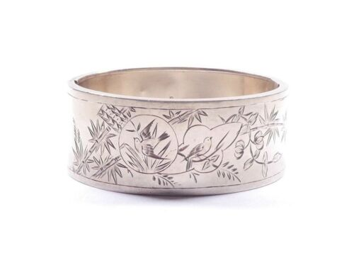 Victorian Aesthetic Movement Bangle Sterling Silver Chester 1882 Hallmarked