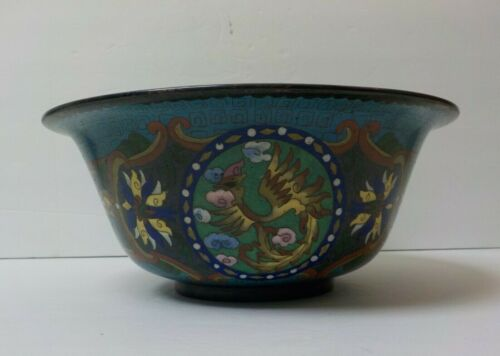 "19th C. Chinese Cloisonne on Bronze 10.25"" Dragon Bowl, Meiji Period"