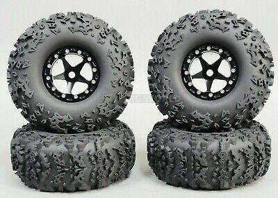 RC Truck Wheels 2.2 ALUMINUM RIMS Beadlock 5 Star BLACK w/ BLACK  Rings (4 rims)