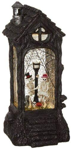 "Skeleton Lighted Water Lantern 11"" Halloween Snow Globe with Swirling Glitter"