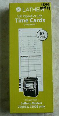 Nib Lathem Payroll Or Job E7 Time Cardsdouble-sided 7000e7500e100 New E79-100