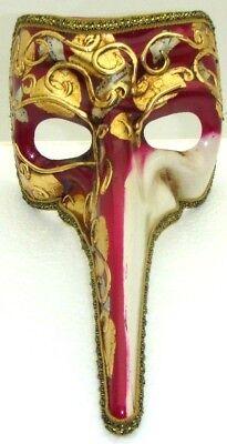 VENETIAN HARLEQUIN MASQUERADE HALLOWEEN RAVEN MASK HAND PAINTED ITALY VENEZIA (Harlequin Halloween Mask)