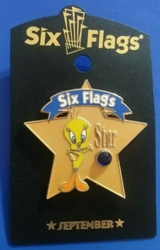 SIX FLAGS WARNER BROS TWEETY BIRD STAR BIRTHSTONE SEPTEMBER COLLECTIBLE PIN