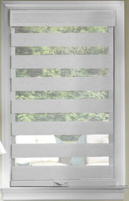 Gray Cordless Window Roller Shades Celestial Sheer Double-La