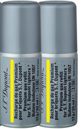 2 Cans S.T. Dupont Reusable Gold Yellow Butane Gas Use With Ligne 2 and Ligne 1