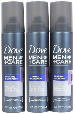 Men Care Natural - 3 Dove Men Care 7oz Control Spray Full Look Strong Hold Natural Finish Unscented