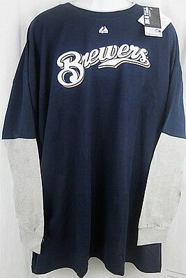 Milwaukee Brewers MLB Long Sleeve Navy Majestic Shirt Big & Tall Sizes