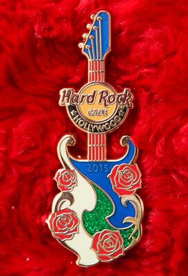 Hard Rock Cafe Pin Hollywood Blvd ROSE BOWL Football Guitar Flower lapel hat