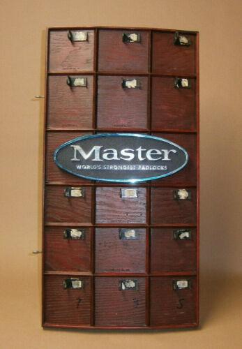 Vintage Master Lock Padlock Display Board Hardware Store Advertising Sign 1960