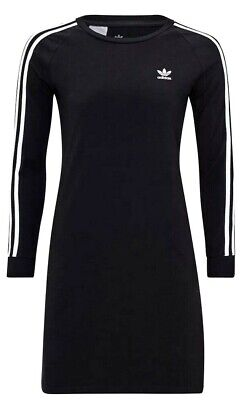 New Girls Adidas Originals DV2887 3 Stripes Black Dress Size XL 14-15 Years