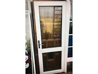 Quality white upvc Pvc Double Glazed Door UnFramed Builder Garage Shed with Key lock