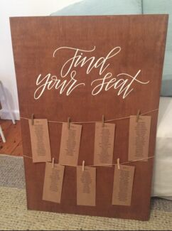 Rustic wedding decor votives seating chart etc