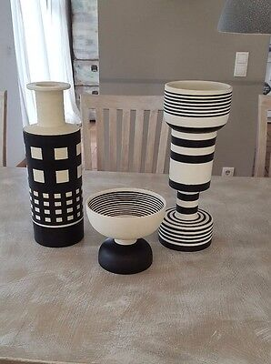 3 Vasen Ettore Sottsass für Bitossi, Hollywood Collection, Memphis 1986