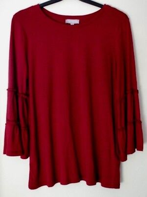 New & Tagged Red Herring Tier Sleeve Top Burgundy Red Size 10 Tier-sleeve
