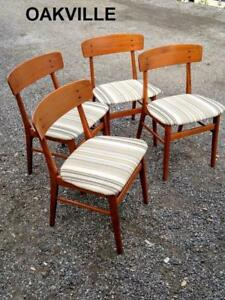 Oakville Set of 4 Danish Teak Dining Chairs Mid-Century Schionning Elgaard Smooth Solid Wood Made Denmark Scandinavian