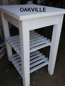 Oakville High Solid WOOD Storage Shelf WHITE Shabby Chic  Painted Wheels Shelves Gardening BBQ Summery
