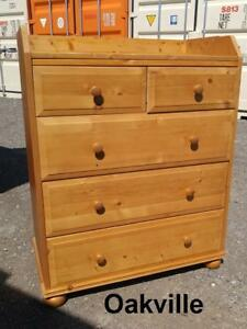 "Oakville IKEA PINE DRESSER 32""x17x40""h  Solid wood Storage clothing Chest of Drawers Blonde Wood Sweden"