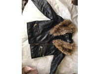 Girls river island age 9 leather jacket