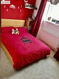Ikea malm double bed with mattress and single side table