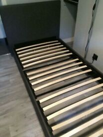Grey Faux Leather Single Bed