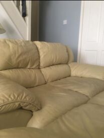 2 & 3 beige leather sofa few scratches in good condition