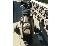 Golf pull cart/trolley and full and full set of wilson graphite clubs